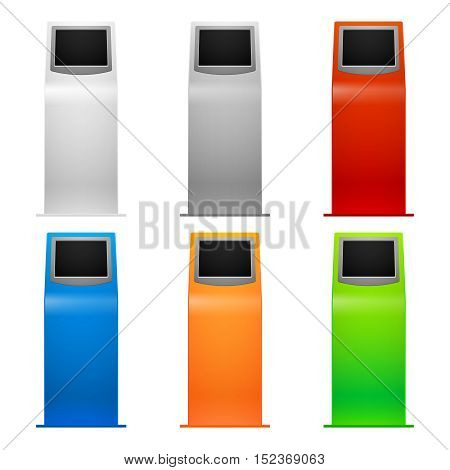 Information kiosk, debit machine, terminals vector illustration. Banking atm and terminal for payment