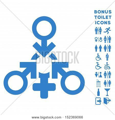 Triple Penetration Sex icon and bonus man and female toilet symbols. Vector illustration style is flat iconic symbols, cobalt color, white background.