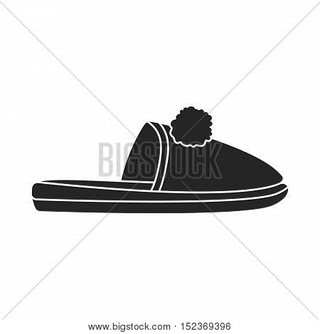 Slippers icon in  black style isolated on white background. Shoes symbol vector illustration.