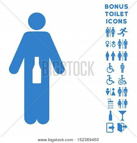 WC Man icon and bonus gentleman and female toilet symbols. Vector illustration style is flat iconic symbols, cobalt color, white background.