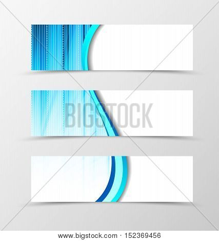 Set of banner spectrum design. Light banner for header in blue color. Design of banner in smooth wave style. Vector illustration