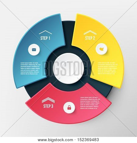 Vector Infographic Circle Template. Concept for Business with Three Options Steps Parts. Diagram Banner for Cycling Chart Pie Chart Business Presentation Annual Report Web Design