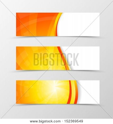 Set of banner wave design. Bright banner for header with gold and red lines. Design of banner in vortex spectrum style. Vector illustration