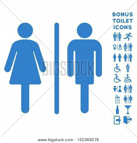 WC Persons icon and bonus man and female lavatory symbols. Vector illustration style is flat iconic symbols, cobalt color, white background.