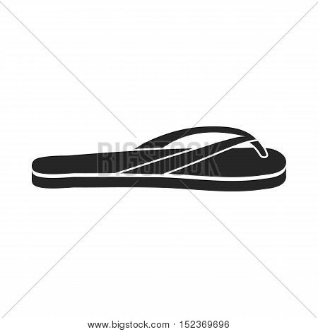Flip-flops icon in  black style isolated on white background. Shoes symbol vector illustration.