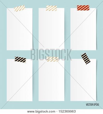 Blank white note papers, ready for your message. Vector illustration.