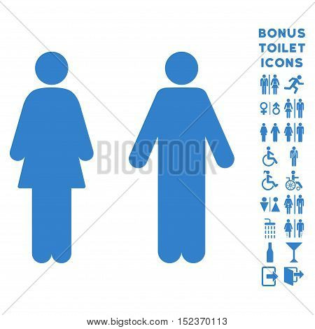 WC Persons icon and bonus gentleman and woman WC symbols. Vector illustration style is flat iconic symbols, cobalt color, white background.