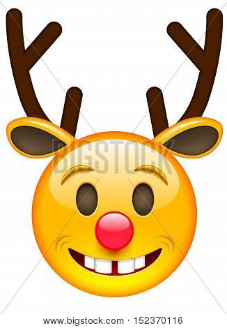 Happy Christmas Deer. Happy New Year Deer Emoji. Deer Smile Emoticon. Isolated vector illustration on white background