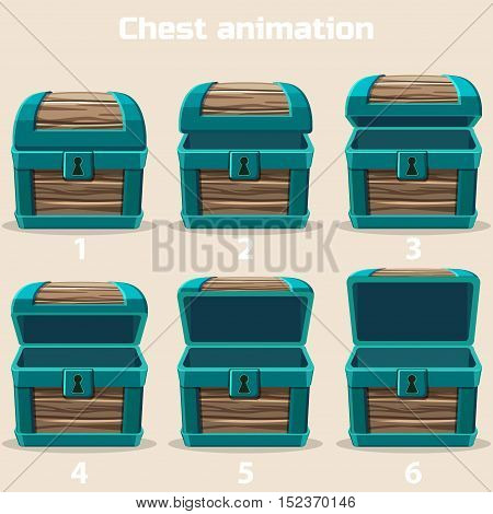 animation wood Treasure chest in vector illustrations