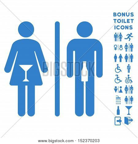 WC Persons icon and bonus gentleman and female lavatory symbols. Vector illustration style is flat iconic symbols, cobalt color, white background.