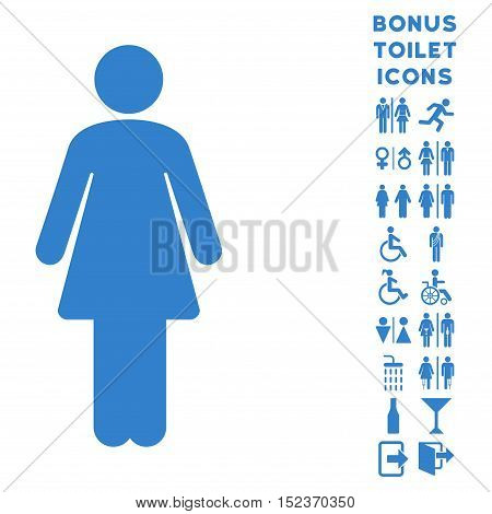 Woman icon and bonus male and female WC symbols. Vector illustration style is flat iconic symbols, cobalt color, white background.