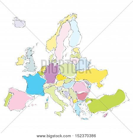 Vector drawing abstract europe map illustration isolated in white