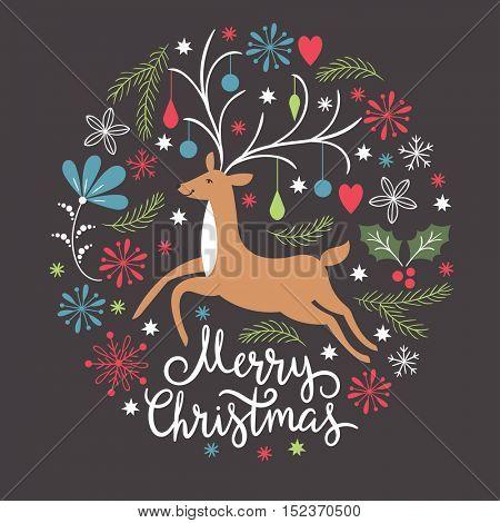 Christmas card, Christmas deer, vector illustration