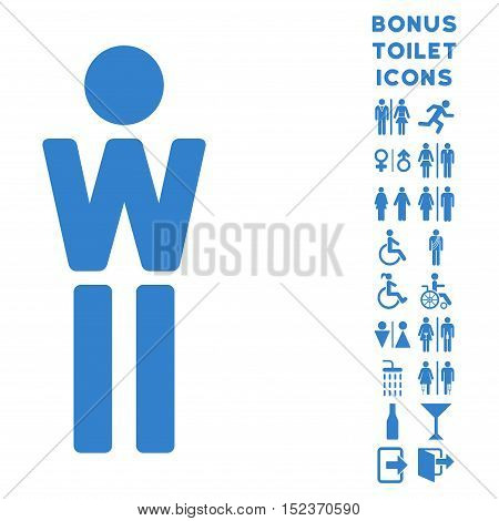 Woman icon and bonus male and woman WC symbols. Vector illustration style is flat iconic symbols, cobalt color, white background.