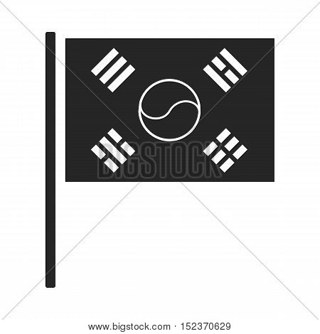 Flag of South Korea icon in  black style isolated on white background. South Korea symbol vector illustration.