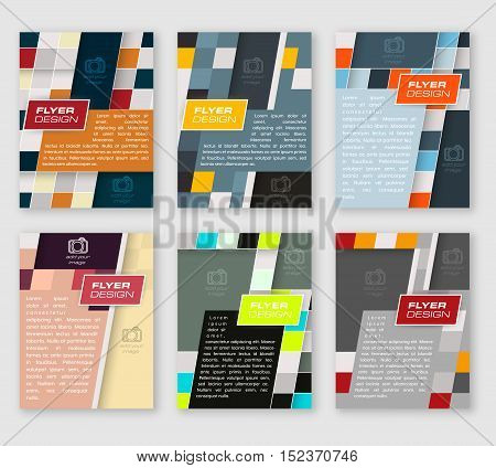 Set of business flyer template brochure or corporate banner with square pattern. Editable vector design.