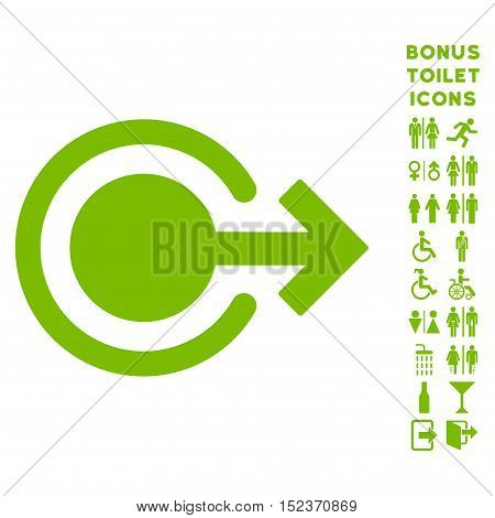Logout icon and bonus man and lady toilet symbols. Vector illustration style is flat iconic symbols, eco green color, white background.