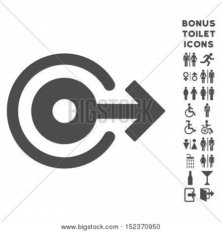 Log Out icon and bonus male and female toilet symbols. Vector illustration style is flat iconic symbols, gray color, white background.