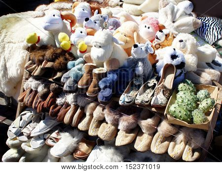 Trade in warm slippers and soft toys