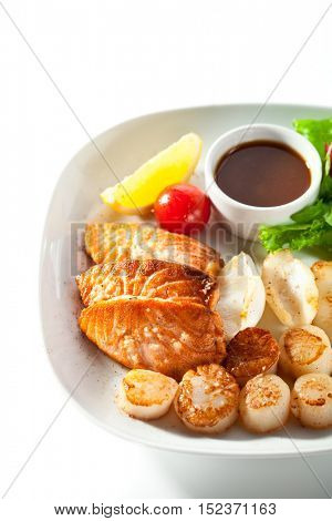 Grilled Foods - Seafood with Fresh Greens