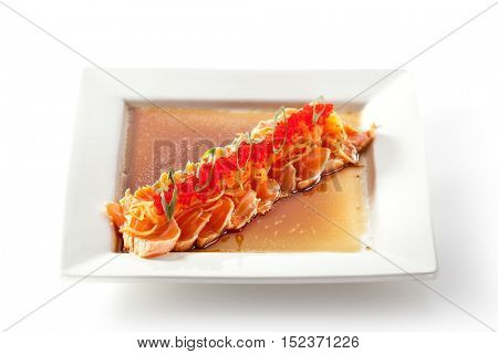 Asian Style Salmon Fillet Topped with Tobiko