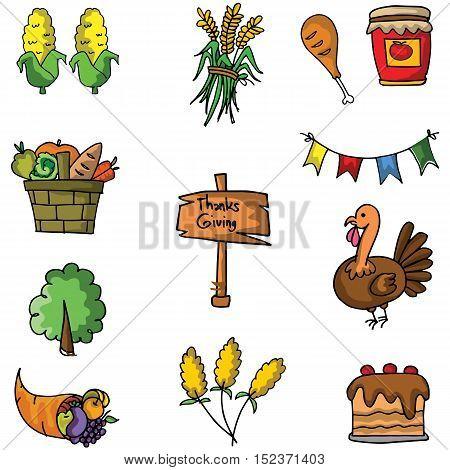Set of thanksgiving doodle vector art illustration