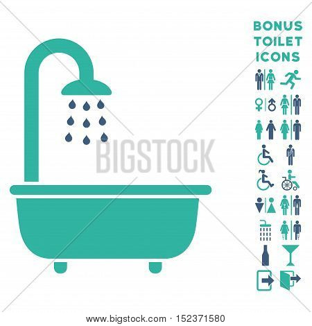 Bath Shower icon and bonus gentleman and woman lavatory symbols. Vector illustration style is flat iconic bicolor symbols, cobalt and cyan colors, white background.