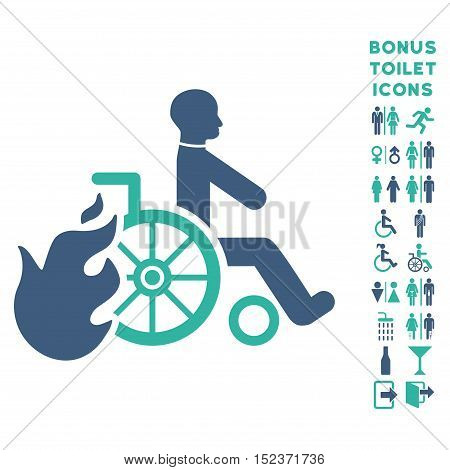 Burn Patient icon and bonus male and woman restroom symbols. Vector illustration style is flat iconic bicolor symbols, cobalt and cyan colors, white background.