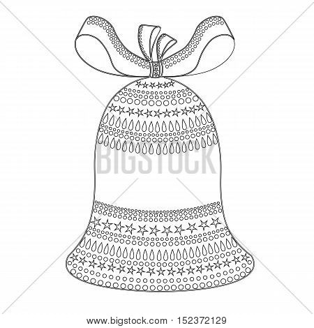 Christmas bell with bow ornaments coloring .