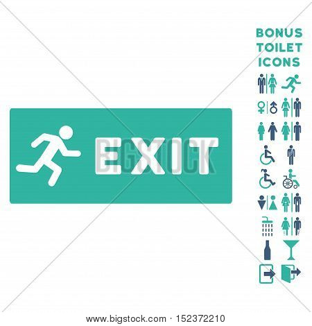 Emergency Exit icon and bonus man and lady lavatory symbols. Vector illustration style is flat iconic bicolor symbols, cobalt and cyan colors, white background.