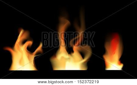 Set of transparent fire on black vector illustration. Transparent fire ornament on vector illustration. Realistic fire flame with transparency isolated on black background.