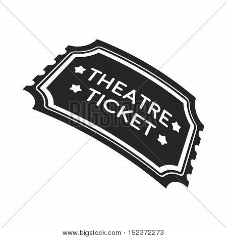 Theatre ticket icon in  black style isolated on white background. Theater symbol vector illustration