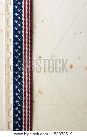Background for American documentary or history. Old Binder paper with stars and stripes tapestry.