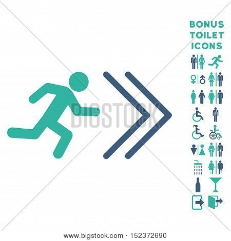 Exit Direction icon and bonus man and female lavatory symbols. Vector illustration style is flat iconic bicolor symbols, cobalt and cyan colors, white background.