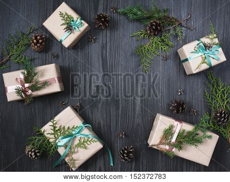 Christmas background with five gift boxes and decorations