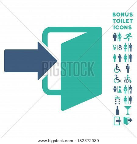 Exit Door icon and bonus male and female WC symbols. Vector illustration style is flat iconic bicolor symbols, cobalt and cyan colors, white background.