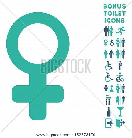 Female Symbol icon and bonus gentleman and female restroom symbols. Vector illustration style is flat iconic bicolor symbols, cobalt and cyan colors, white background.