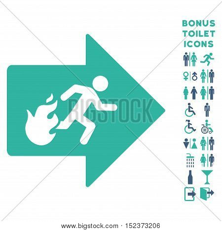 Fire Exit icon and bonus gentleman and woman restroom symbols. Vector illustration style is flat iconic bicolor symbols, cobalt and cyan colors, white background.
