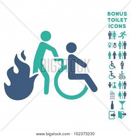 Fire Patient Evacuation icon and bonus gentleman and female WC symbols. Vector illustration style is flat iconic bicolor symbols, cobalt and cyan colors, white background.