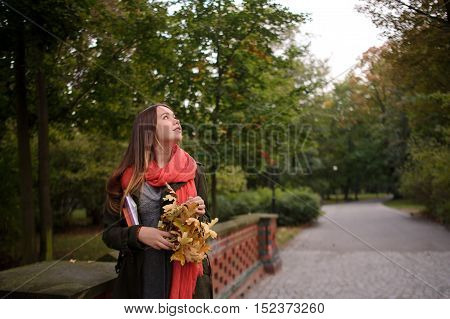 Charming girl walks in the beautiful autumn park. A bright red scarf attracts attention. In hands the girl holds textbooks and bouquet of fallen autumn leaves. She looks in the autumn sky.