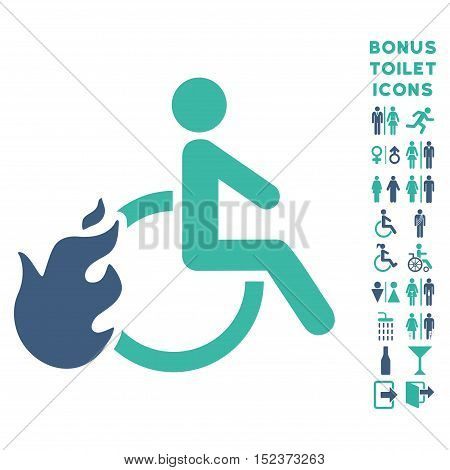 Fired Disabled Person icon and bonus man and woman WC symbols. Vector illustration style is flat iconic bicolor symbols, cobalt and cyan colors, white background.