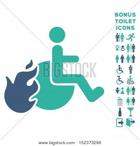 Fired Patient icon and bonus male and lady lavatory symbols. Vector illustration style is flat iconic bicolor symbols, cobalt and cyan colors, white background.
