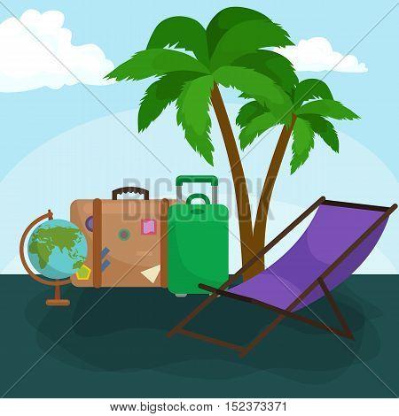 poster of Travel concept. Travel bag. Travel passport. Travel camera. Travel ticket. Travel airplane. Travel Isometric Travel flat. Travel 3d. Travel vector. Travel illustration. Travel insurance Travel luxury