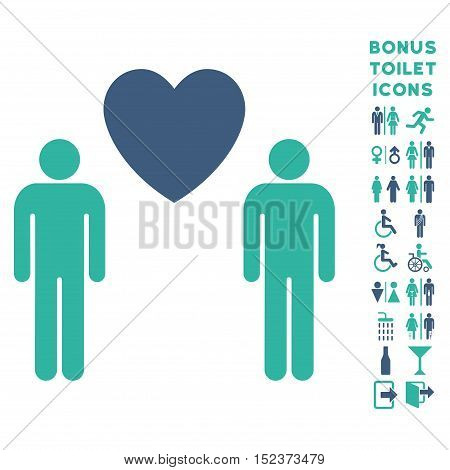 Gay Lovers icon and bonus male and woman toilet symbols. Vector illustration style is flat iconic bicolor symbols, cobalt and cyan colors, white background.