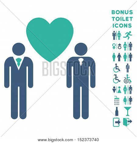 Gay Lovers icon and bonus gentleman and female WC symbols. Vector illustration style is flat iconic bicolor symbols, cobalt and cyan colors, white background.