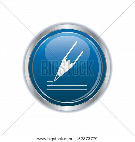 Pencil icon on the button. Vector illustration