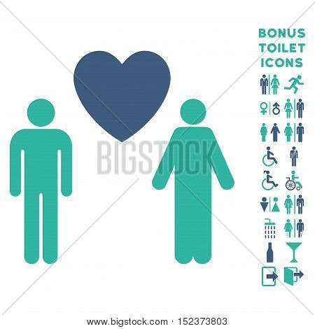 Gay Lovers icon and bonus male and lady toilet symbols. Vector illustration style is flat iconic bicolor symbols, cobalt and cyan colors, white background.