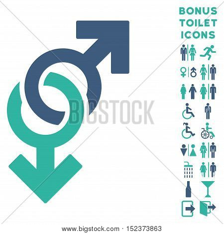 Gay Symbol icon and bonus male and lady toilet symbols. Vector illustration style is flat iconic bicolor symbols, cobalt and cyan colors, white background.