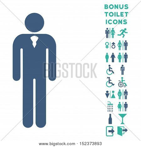 Gentleman icon and bonus gentleman and female restroom symbols. Vector illustration style is flat iconic bicolor symbols, cobalt and cyan colors, white background.