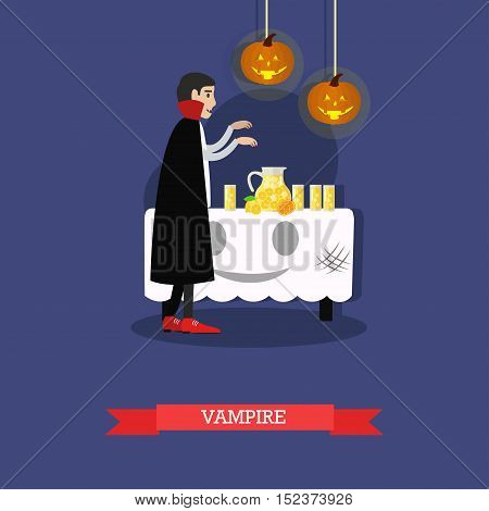 Vampire at halloween party. Happy halloween holiday concept poster. Vector illustration in flat style design.